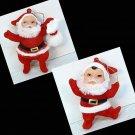 2 vintage plastic Santa Christmas Ornaments flocked