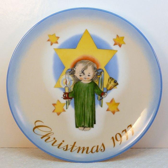 Vtg Hummel Schmid 1977 Christmas Plate angel box