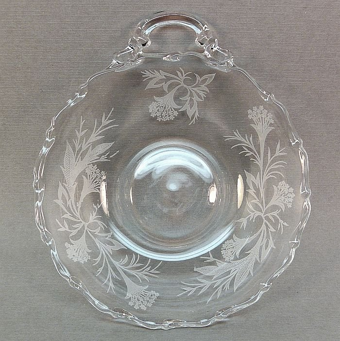 Vintage candy nut dish clear glass floral stencil design