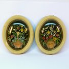pair small vintage floral shell art wall plaques early plastic bubble top frames