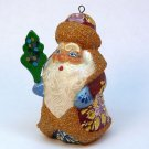 Russian Santa Christmas ornament wooden hand carved and painted signed