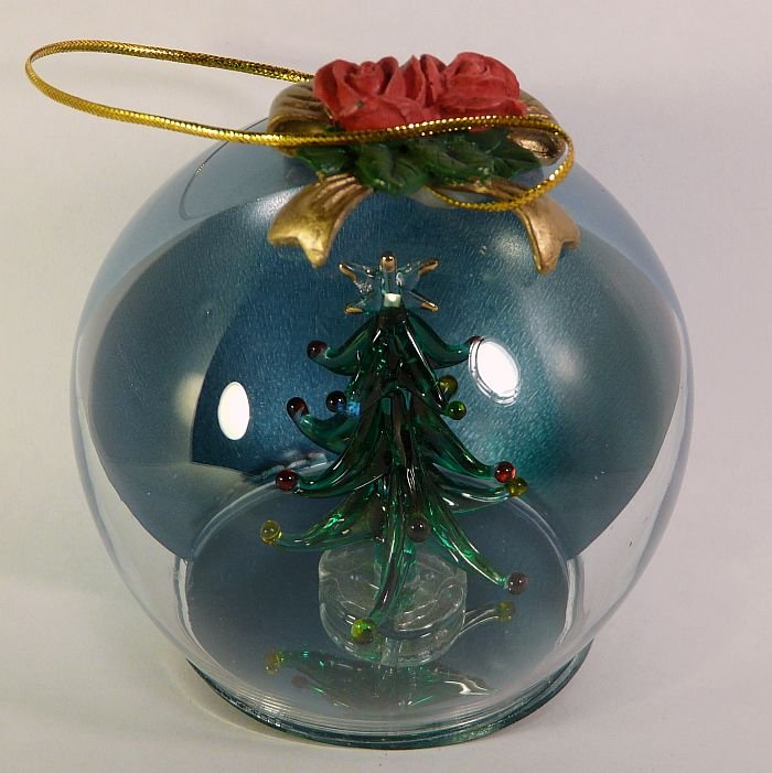 rite aid christmas ornament hand made glass tree inside a ball ornament