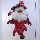 Santa Christmas ornament hand crafted on felt red oak leaf mohair beard posable