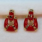 vtg Avon earrings clip door knocker red enamel gold tone