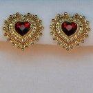 vtg Avon earrings clip heart red stone gold tone