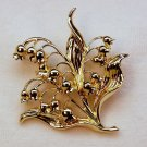 vtg brooch pin Lily of the Valley gold tone