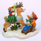 Avon Reindeer Carousel Wonderland figurine miniature mouse mice winter Kathy Jeffers