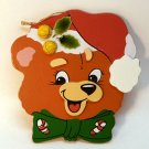 Vtg Christmas Ornament bear wooden flat Holly Jolly Friends Giftco