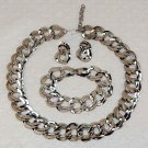 Set necklace bracelet pierced earrings silver tone large link brigante
