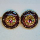 Vtg earrings pierced gold tone burgundy enamel round multi rhinestones