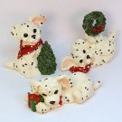 3 Dalmatian puppy Christmas figurines dogs puppies