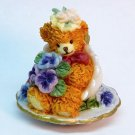vtg miniature teddy bear in a teacup figurine Little Thoughts Love Makes the World Go Round AGC