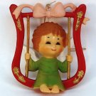 Vtg Christmas Ornament Angel on Swing Bradford Novelty 1980s