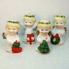 vintage 4 Christmas Cherubs ornament figurines Jamestown China bisque porcelain 1990