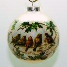 Vintage Christmas Ornament sleeved glass ball birds artist signature Beretta