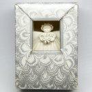"""Vintage Margaret Furlong Christmas Ornament 3"""" Angel with bouquet bisque porcelain 1987 box"""