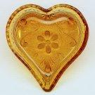 vtg Indiana Glass small dish Tiara pattern amber heart bridge ashtray