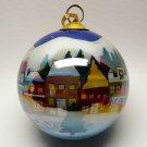 Li Bien reverse painted scenic Houses Christmas ornament 1999