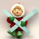 vtg Hallmark ornament Ski Tripper 1986 QX4206 Christmas girl with skis no box