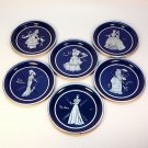 6 vintage tin coasters 1940s women fashion styles