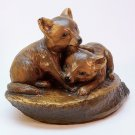 vtg Orzeck fox kits playing figurine terrastone