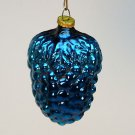 vtg small Japan Christmas ornament blown glass bunch of grapes blue