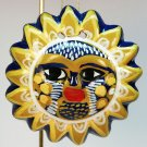 vintage handcrafted sun face clay Christmas ornament