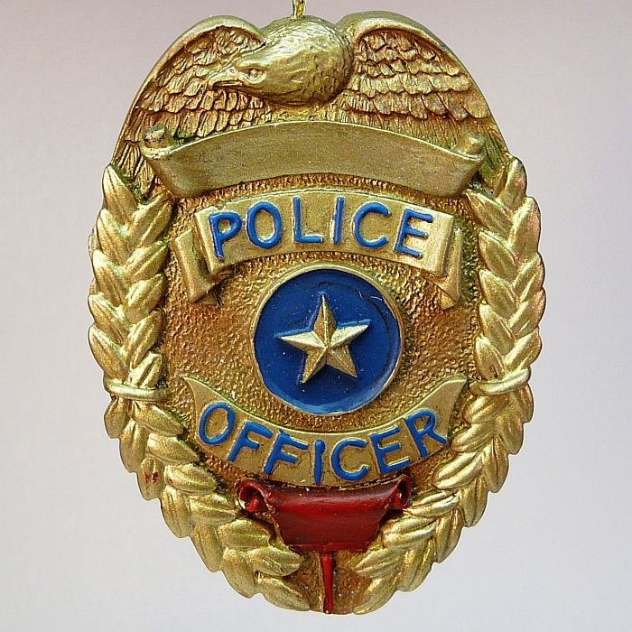 Vanmark Police Officer Badge Christmas ornament  PE89114 2000 Blue Hats of Bravery