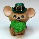 Vtg Hallmark Shamrock Mouse 1986 Merry Miniatures St. Patrick's Irish leprechaun figurine SHA3467