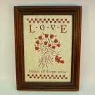 vtg Figi Graphics die cut reproduction Scherenschnitte picture Love makes all things grow
