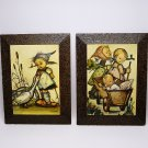 2 vintage Hummel Philatex laminated pictures Goose Girl two girls walking with baby