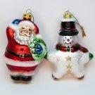 2 Christmas ornaments Santa and Snowman Trim A tree blown glass