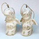 2 vtg angel Christmas ornaments boy girl white bisque porcelain
