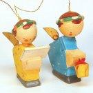 2 Vintage miniature angel Christmas ornaments wooden