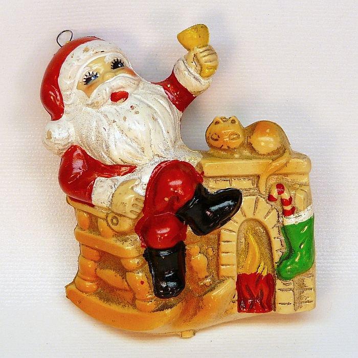 Vintage blow mold Christmas ornament Santa fireplace soft plastic