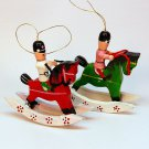 2 Vintage rocking horse soldier ornaments Christmas wooden painted