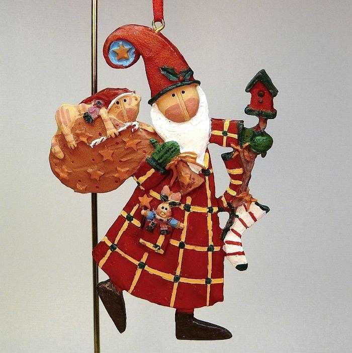 Santa with cat Christmas ornament plaid