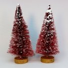 2 dark pink bottle brush trees vintage white snow gold painted bases