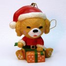 vtg Dog in Santa hat ornament Christmas wrapping a present Bradford Novelty Company