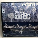 "tablecloth 12 napkins Italian Auguri Wishes Holiday Augural dark blue white 58"" X 98"" new cotton"