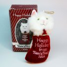Fancy Feast cat kitten white ornament Christmas 2000 Happy Holidays stocking