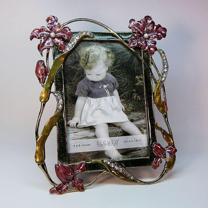 Sicura photo frame floral design faux pearl rhinestones enamel 4 X 6 ...