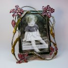 Sicura photo frame floral design faux pearl rhinestones enamel 4 X 6 Italian Designs