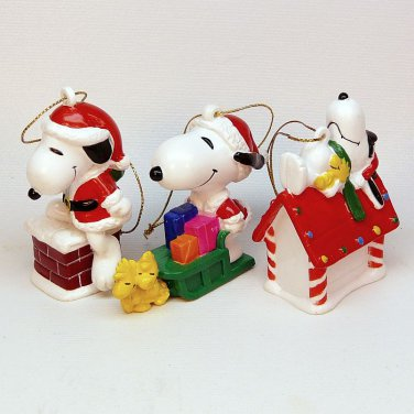 Snoopy And Woodstock Christmas Ornaments.3 Vintage Snoopy Woodstock Christmas Ornaments United