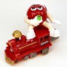 M&M red train engine figurine 2005 Mars Inc movable Christmas 05166 whistle