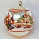 vtg Hallmark Santa's Workshop Christmas Ornament satin 1980 QX2234