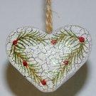 Country heart Christmas ornament crackle finish glitter pine berries handmade
