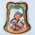 Vintage boy with rabbits Christmas ornament