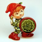 vintage Japan figurine boy with drum ceramic drummer