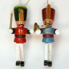 2 vintage wooden band ornaments marching Christmas leader horn